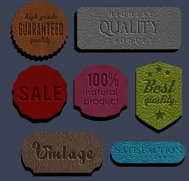 sales tags collection leather background various colored shapes