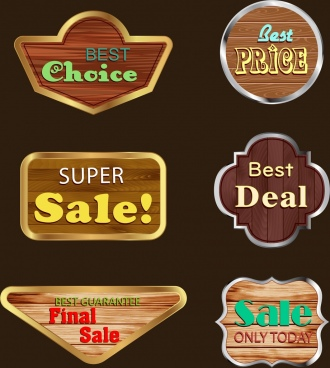 sales tags collection shiny wooden design