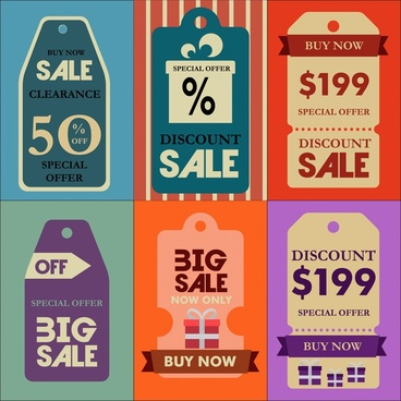 sales tags collection with retro design style