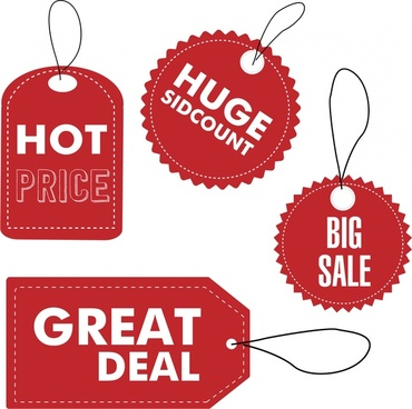 sales tags design with red flat style