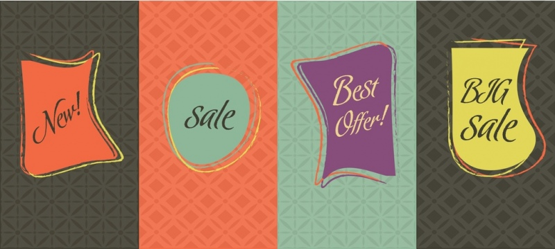 sales tags sets modern curves design style
