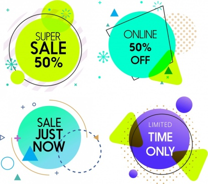 sales tags templates colored flat circle decor