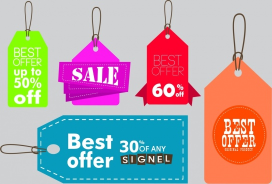 sales tags templates various colored shapes design