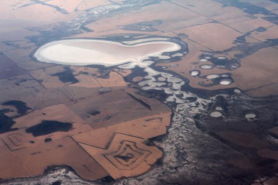 salt lakes western australia from the air