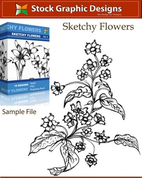 sample file from sketchy flowers vector and photoshop brush