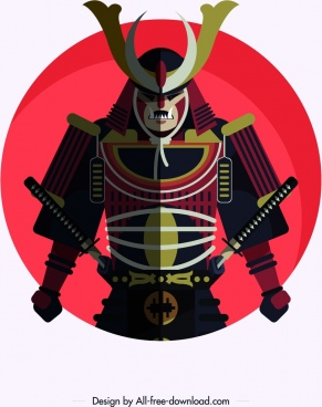samurai armor icon colored classical design