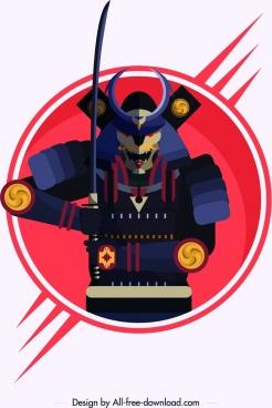 samurai icon armor sword decor colored classical character