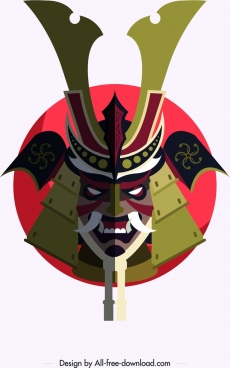 samurai icon horror mask armor decor