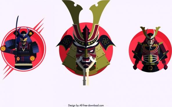 samurai icons armor mask design