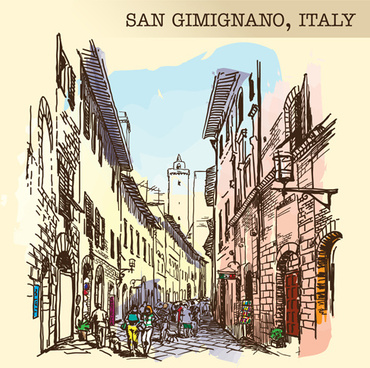 san gimignano italy town background vector