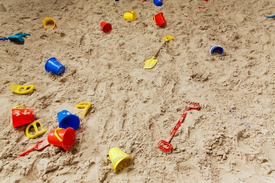 sand pit with toys