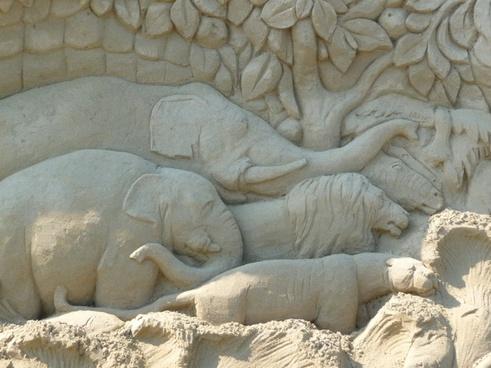 sand sculpture elephants face