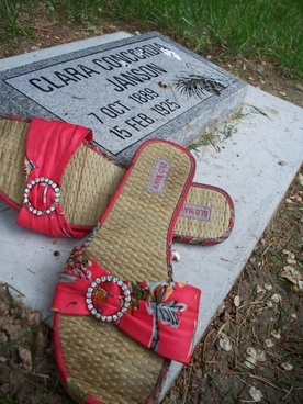 sandals by a grave