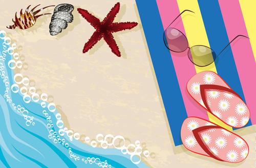 sandy beach travel elements vector