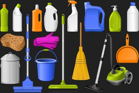 cleaning tools icons modern colored 3d sketch