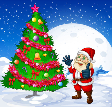 santa and christmas tree vector