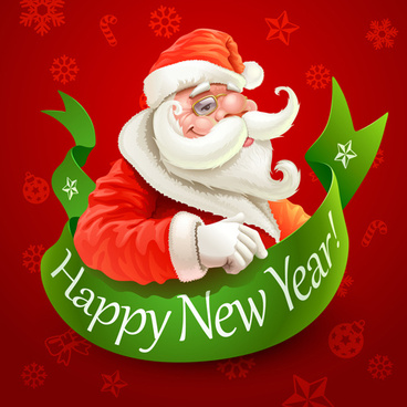 santa and new year background vector