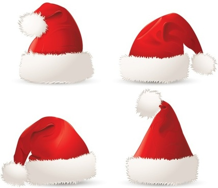christmas hat icons realistic design red white decor