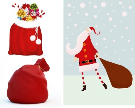 santa claus and gift bags vector