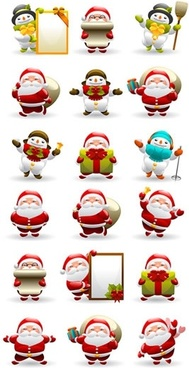christmas characters icons snowman santa sketch lovely design