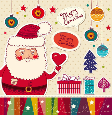 santa claus and xmas stickers vector grahpic