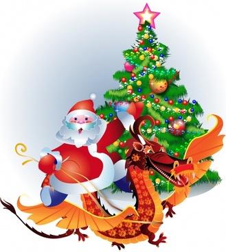 santa claus christmas tree vector