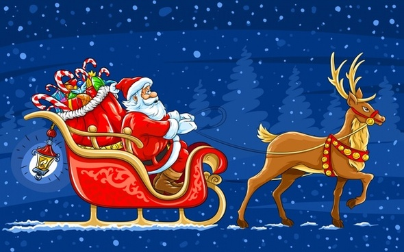 christmas background sleighing santa icon cartoon design