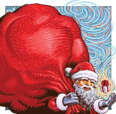 xmas background santa huge present icons cartoon character
