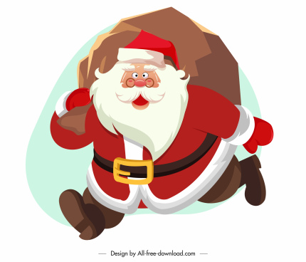 santa claus icon funny cartoon character sketch