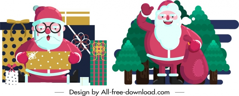 santa claus icons funny cartoon character design