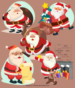 santa claus icons funny cartoon characters sketch