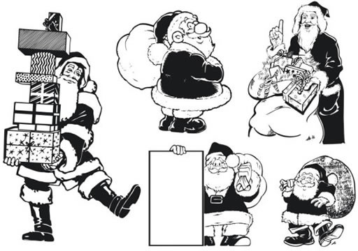 santa claus icons black white cartoon character sketch