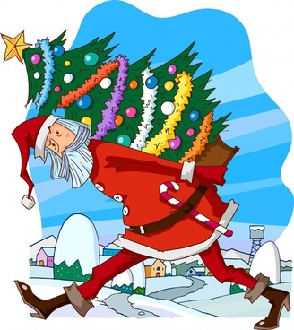 christmas tale painting funny santa icon cartoon design