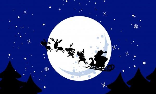 christmas background flying santa reindeer moonlight icons