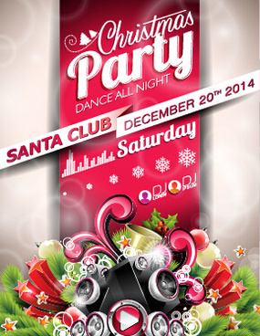 santa club christmas music party poster vector