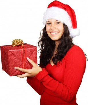 santa girl and christmas gift