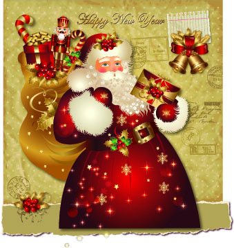 santa golden glow christmas cards vector