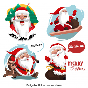santa icons funny cartoon characters sketch