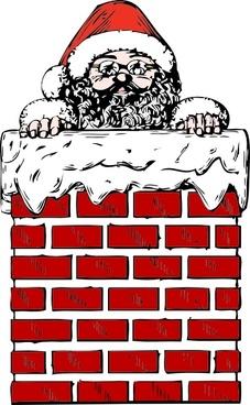 Santa In A Chimney clip art