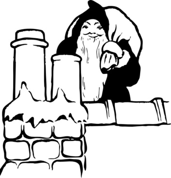 Santa On The Rooftop clip art