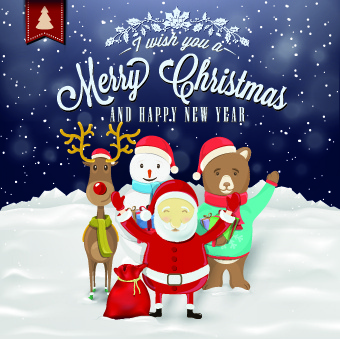 santa with cute animal and snowman christmas background