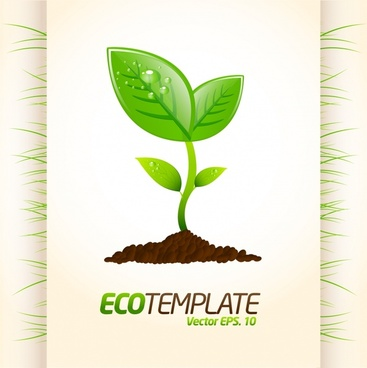 ecology background template growing leaf sketch modern flat