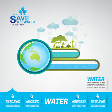 save water infographics template vector