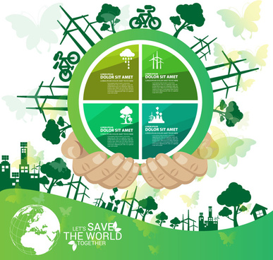 save world banner design with circle infographic illustration