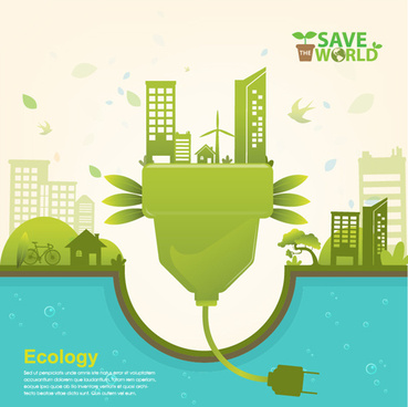 save world eco infographics template vector