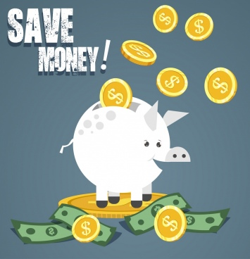 saving banner bank piggy coin money icons decor