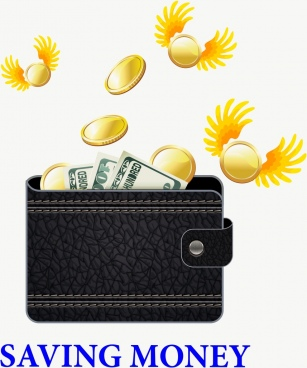 saving money concept winged coins wallet icons decoration