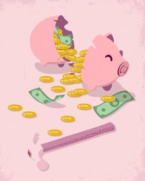 savings concept background broken piggy bank money icons