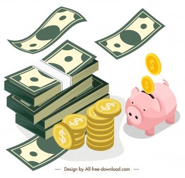 savings design elements dynamic cash coin piggy sketch