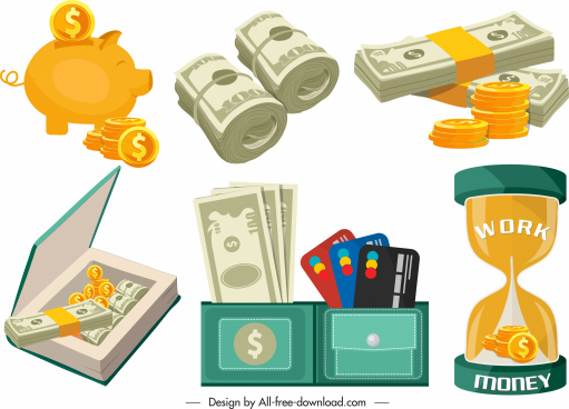 savings design elements modern colored symbols sketch